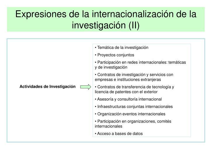 Expresiones de la internacionalización de la investigación (II)