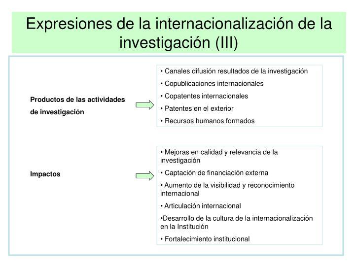 Expresiones de la internacionalización de la investigación (III)