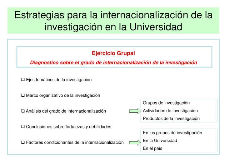 Estrategias para la internacionalización de la investigación en la Universidad