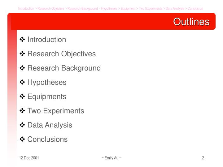 Introduction > Research Objective > Research Background > Hypotheses > Equipment > Two Experiments > Data Analysis > Conclusion