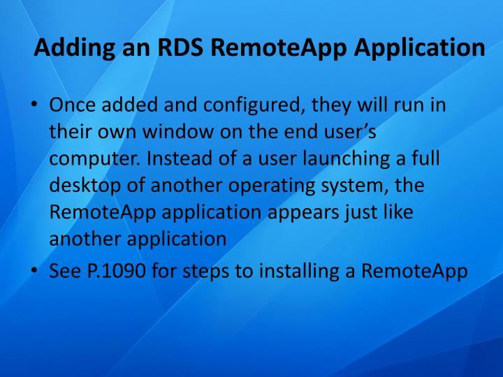 Adding an RDS