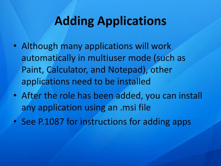 Adding Applications