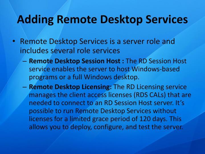 Adding Remote Desktop Services
