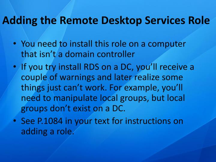 Adding the Remote Desktop Services Role