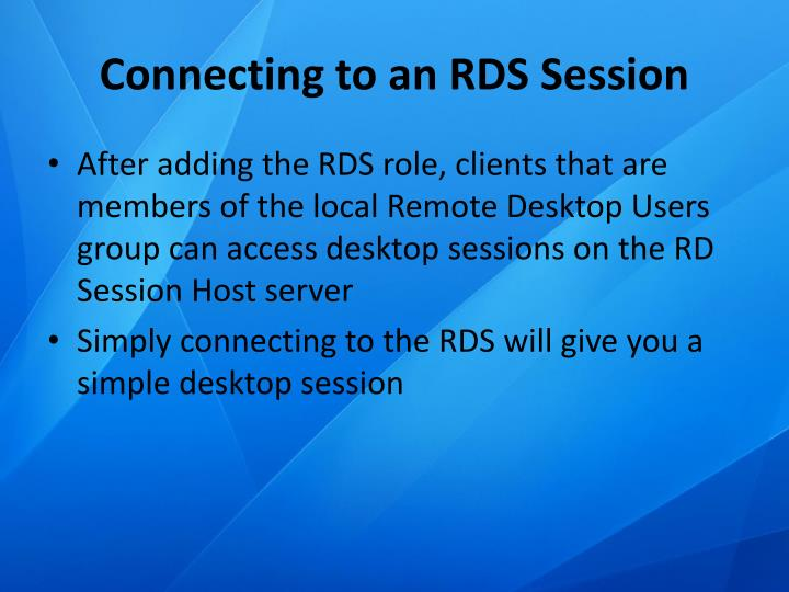 Connecting to an RDS Session