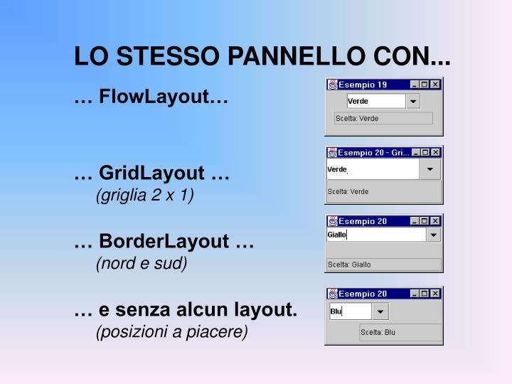 LO STESSO PANNELLO CON...