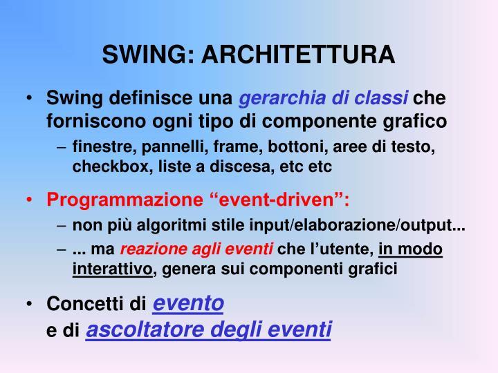 SWING: ARCHITETTURA