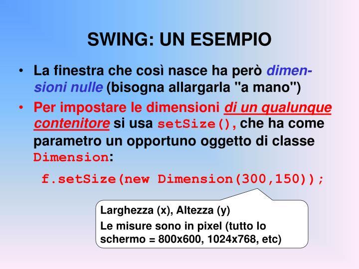 SWING: UN ESEMPIO