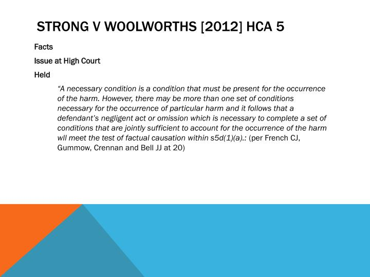 Strong v Woolworths [2012]