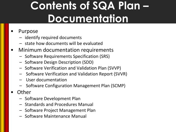 Contents of SQA Plan – Documentation