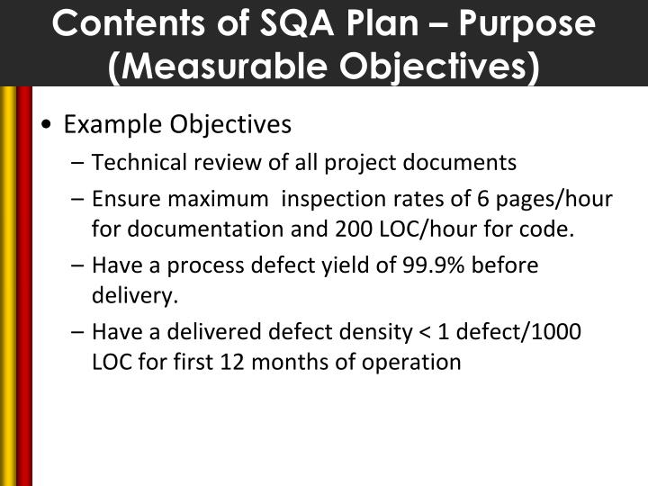 Contents of SQA Plan – Purpose (Measurable Objectives)