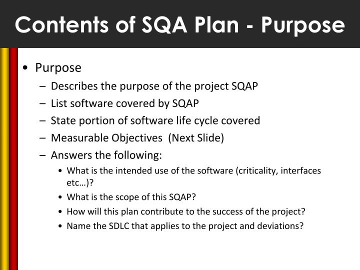 Contents of SQA Plan - Purpose