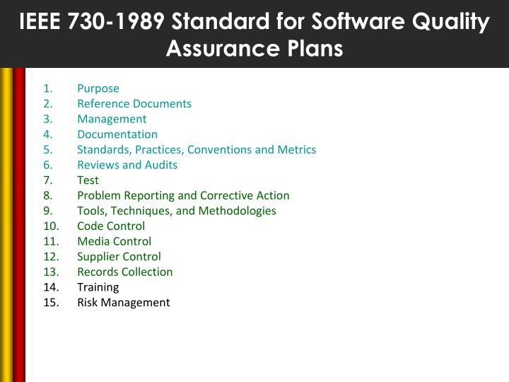 IEEE 730-1989 Standard for Software Quality Assurance Plans