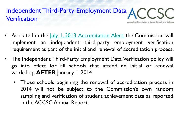 Independent Third-Party Employment Data Verification