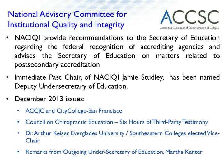 National Advisory Committee for Institutional Quality and Integrity