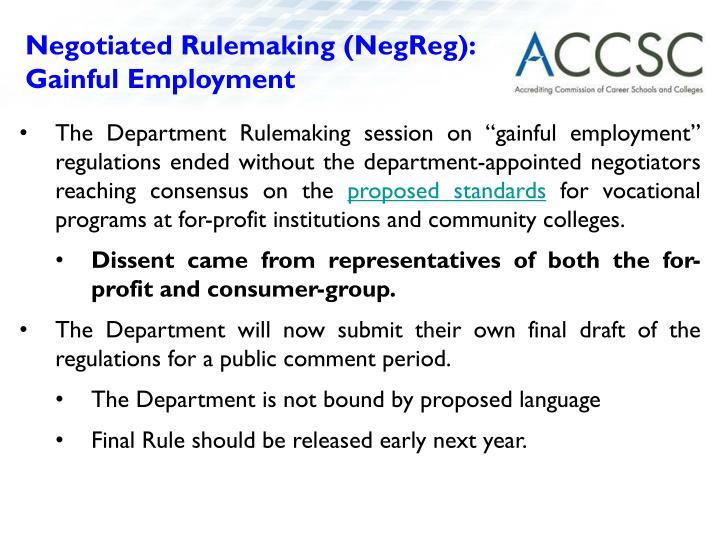 Negotiated Rulemaking (NegReg):