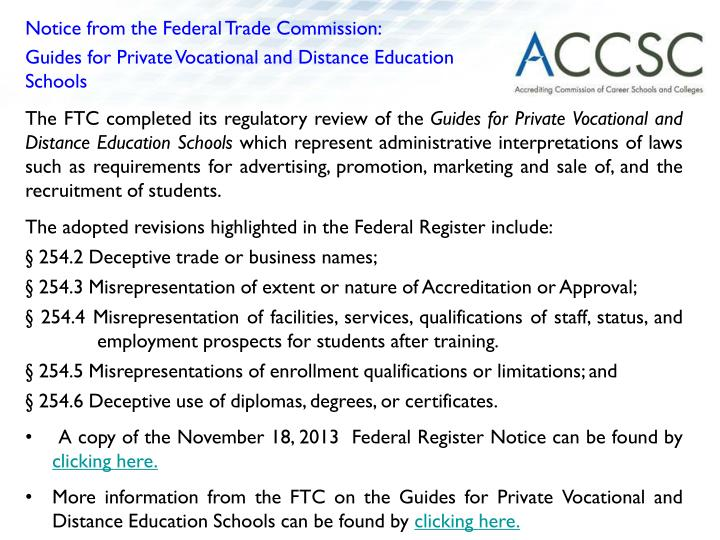 Notice from the Federal Trade Commission: