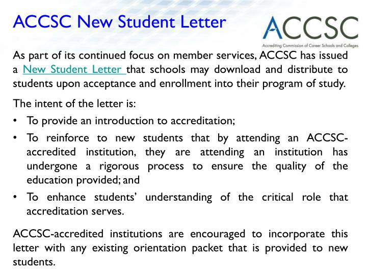 ACCSC New Student Letter