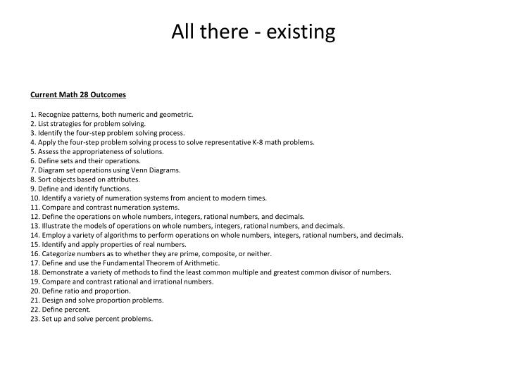 All there - existing