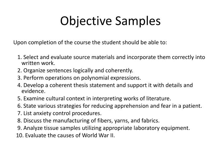 Objective Samples