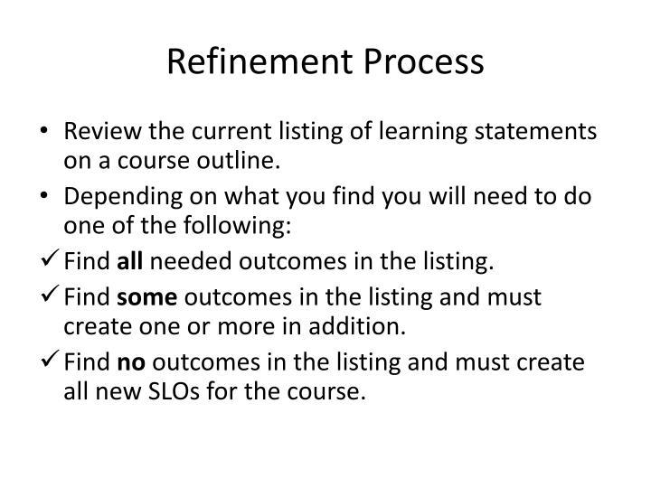 Refinement Process