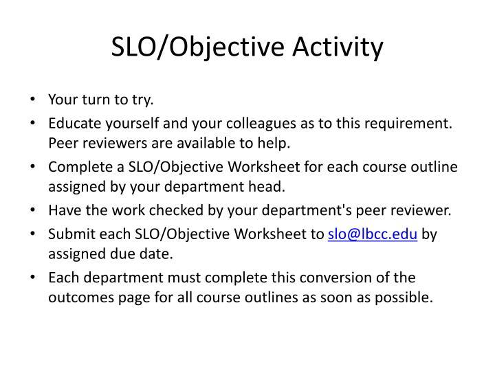 SLO/Objective Activity