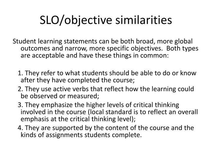 SLO/objective similarities