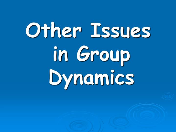 Other Issues  in Group Dynamics