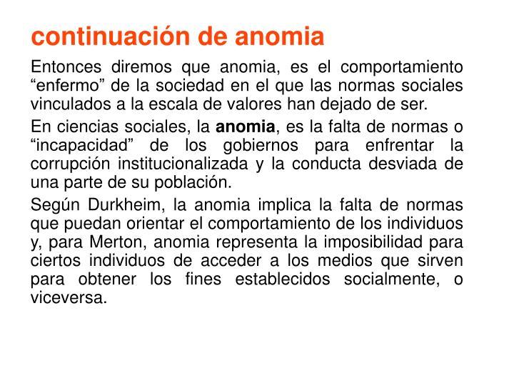 continuación de anomia