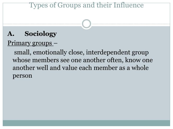 Types of Groups and their Influence
