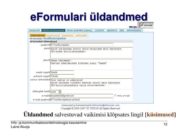 eFormulari üldandmed