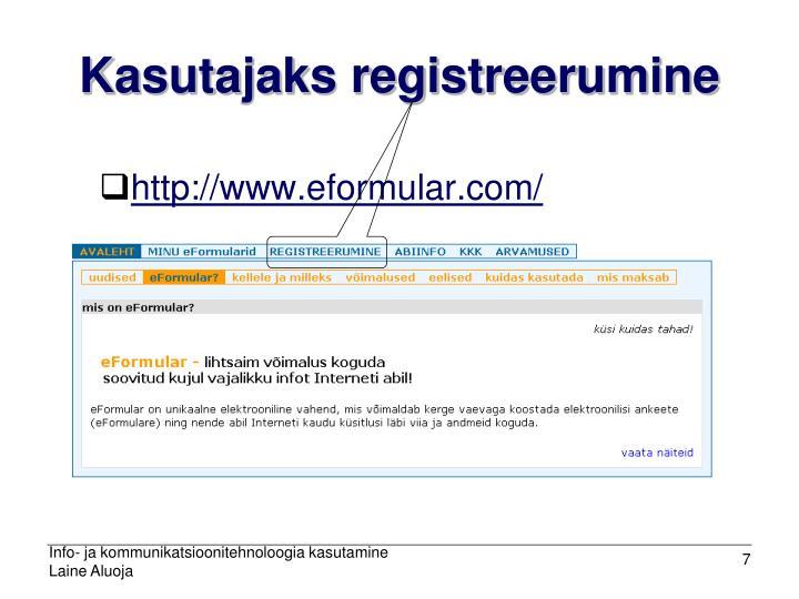 Kasutajaks registreerumine