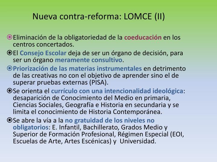 Nueva contra-reforma: LOMCE (II)