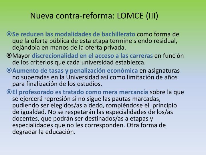 Nueva contra-reforma: LOMCE (III)