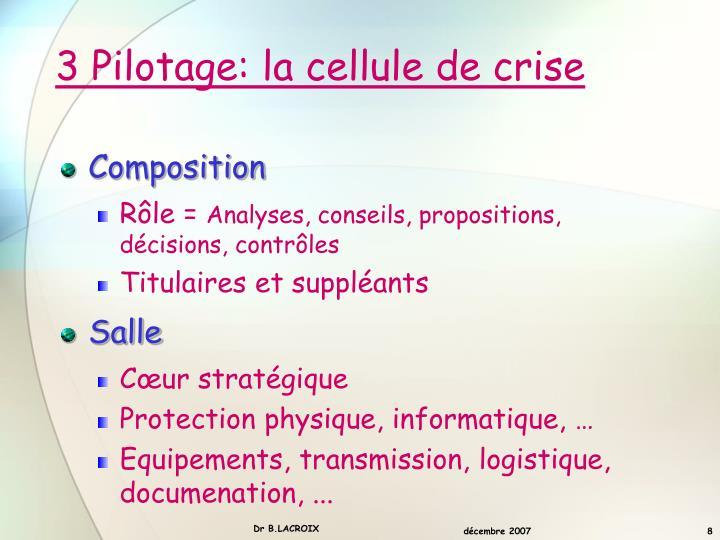 3 Pilotage: la cellule de crise