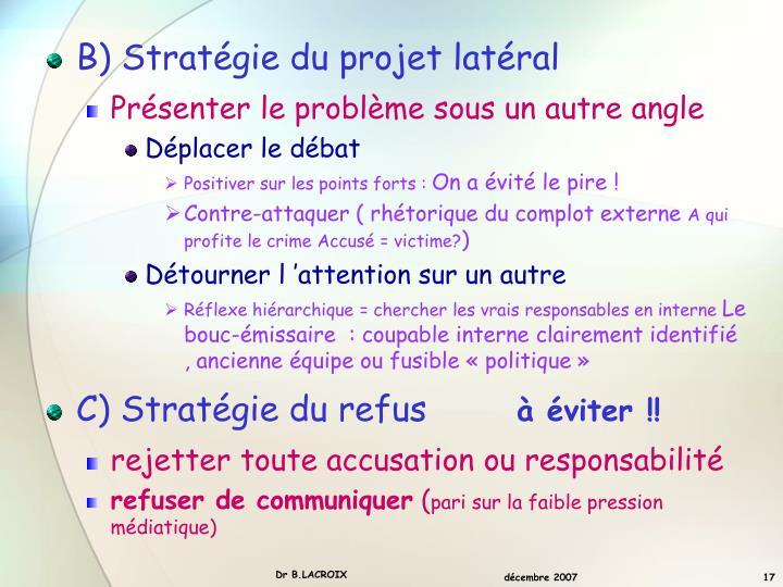 B) Stratégie du projet latéral