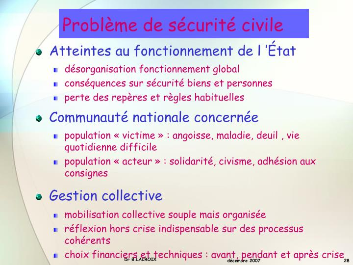 Problème de sécurité civile