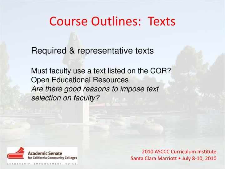 Course Outlines:  Texts