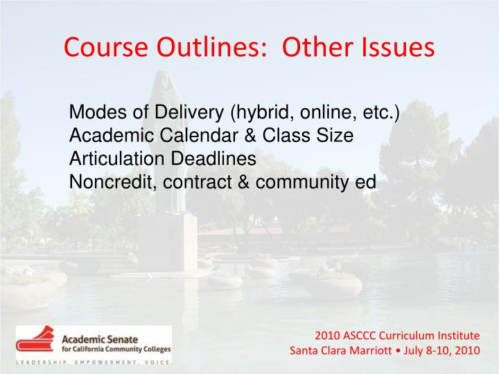 Course Outlines:  Other Issues