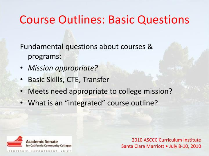 Course Outlines: Basic Questions