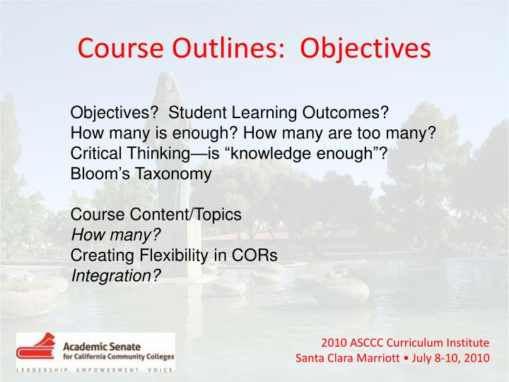 Course Outlines:  Objectives