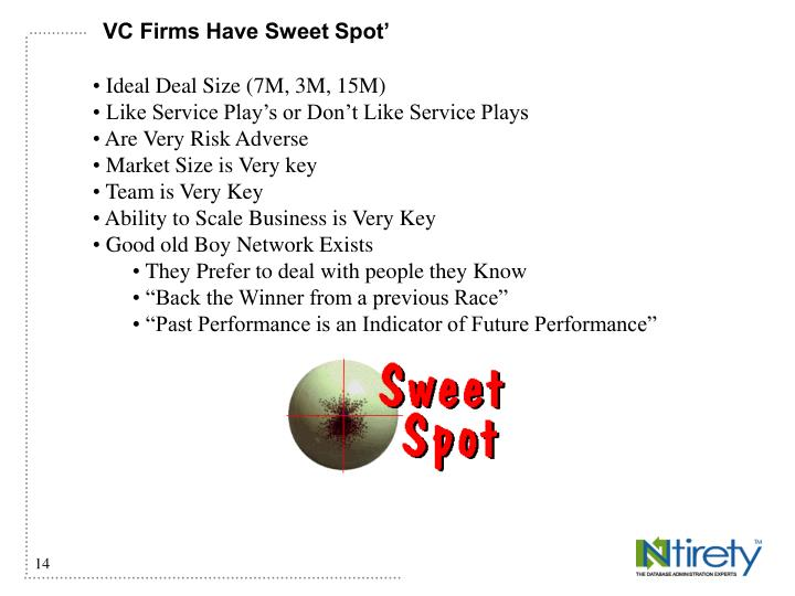 VC Firms Have Sweet Spot'