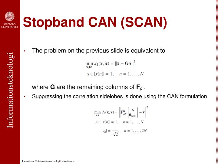 Stopband CAN (SCAN)