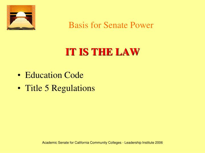 Basis for senate power