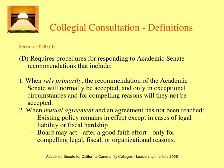 Collegial Consultation - Definitions