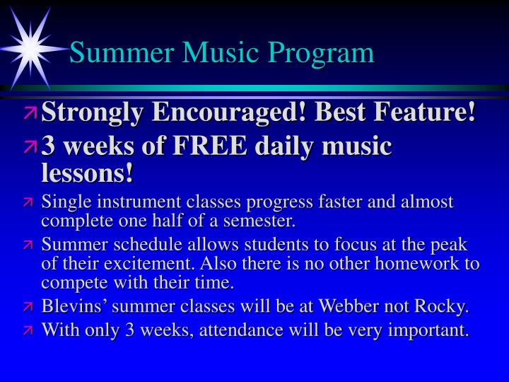 Summer Music Program