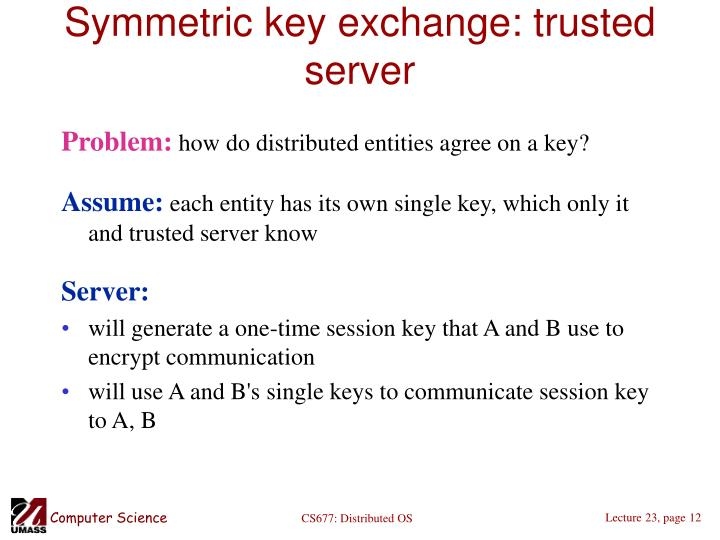 Symmetric key exchange: trusted server