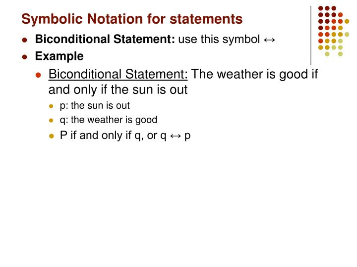 Symbolic Notation for statements