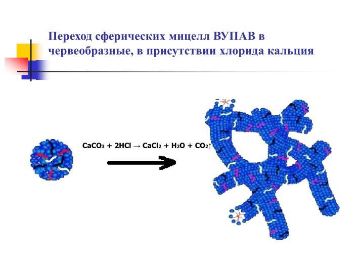 Переход сферических мицелл ВУПАВ в червеобразные, в присутствии хлорида кальция
