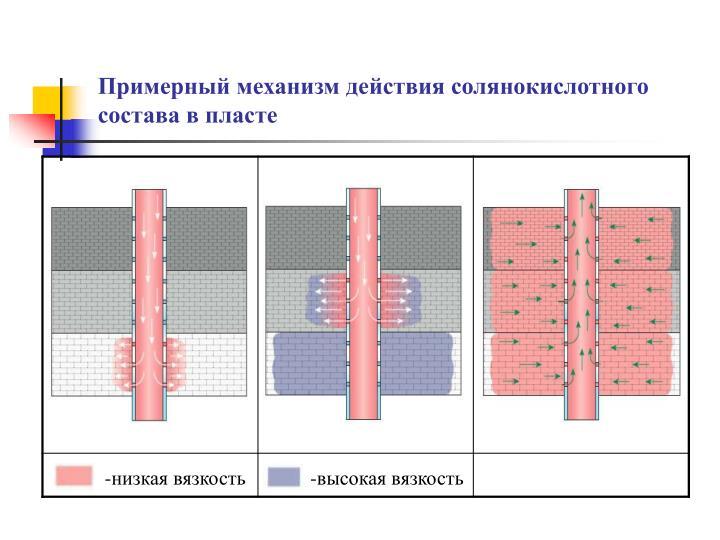Примерный механизм действия солянокислотного состава в пласте